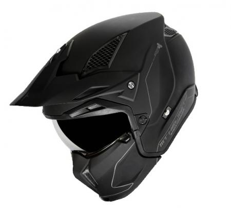 Casca MT Streetfighter SV solid A1 negru mat (ochelari soare integrati) – masca (protectie) barbie si cozoroc detasabile [2]