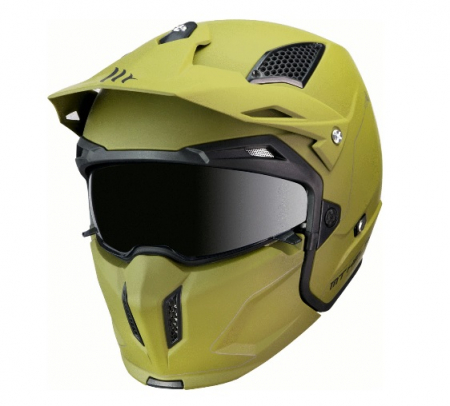Casca MT Streetfighter SV solid A6 verde mat (ochelari soare integrati) – masca (protectie) barbie si cozoroc detasabile [1]