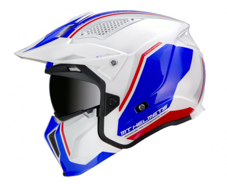 Casca MT Streetfighter SV Twin B7 alb/albastru lucios (ochelari soare integrati) – masca (protectie) barbie si cozoroc detasabile [0]
