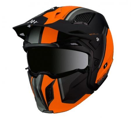 Casca MT Streetfighter SV Twin C4 portocaliu fluor mat (ochelari soare integrati) – masca (protectie) barbie si cozoroc detasabile [1]