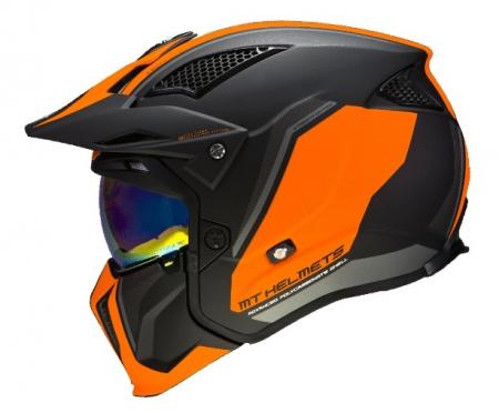 Casca MT Streetfighter SV Twin C4 portocaliu fluor mat (ochelari soare integrati) – masca (protectie) barbie si cozoroc detasabile [5]