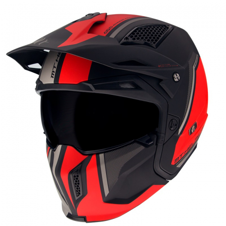 Casca MT Streetfighter SV Twin C5 negru/rosu mat (ochelari soare integrati) – masca (protectie) barbie si cozoroc detasabile [1]