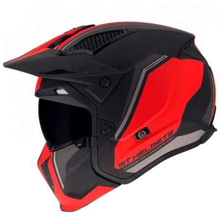 Casca MT Streetfighter SV Twin C5 negru/rosu mat (ochelari soare integrati) – masca (protectie) barbie si cozoroc detasabile [0]