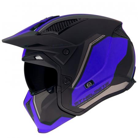 Casca MT Streetfighter SV Twin C7 negru/albastru mat (ochelari soare integrati) – masca (protectie) barbie si cozoroc detasabile [0]