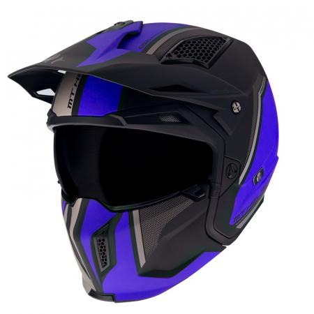 Casca MT Streetfighter SV Twin C7 negru/albastru mat (ochelari soare integrati) – masca (protectie) barbie si cozoroc detasabile [1]