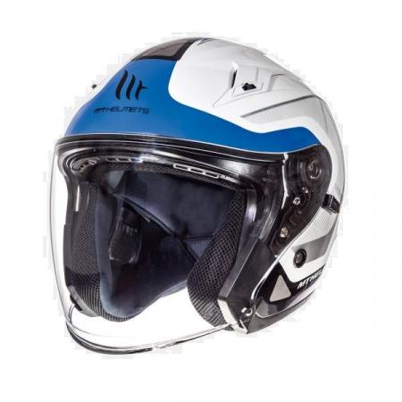 Casca open face motociclete MT Avenue SV Crossroad alb/albastru lucios (ochelari soare integrati) [1]