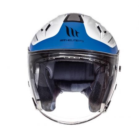 Casca open face motociclete MT Avenue SV Crossroad alb/albastru lucios (ochelari soare integrati) [2]