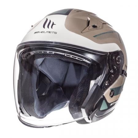 Casca open face motociclete MT Avenue SV Crossroad alb/gri lucios (ochelari soare integrati) [1]