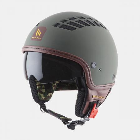 Casca open face motociclete MT Cosmo SV verde military mat (ochelari soare integrati) [1]