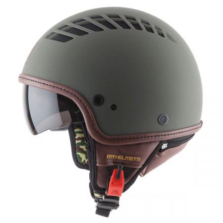Casca open face motociclete MT Cosmo SV verde military mat (ochelari soare integrati) [0]