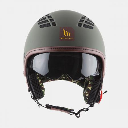 Casca open face motociclete MT Cosmo SV verde military mat (ochelari soare integrati) [2]