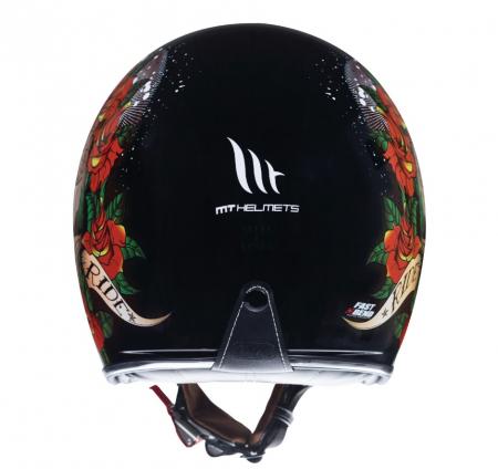 Casca open face motociclete MT Le Mans 2 SV Skull & Rose A1 negru/rosu lucios (ochelari soare integrati) [1]