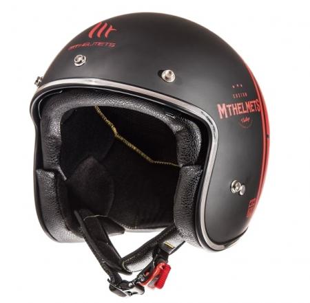 Casca open face motociclete MT Le Mans SV Divenire negru/rosu mat (ochelari soare integrati) [1]