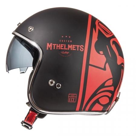 Casca open face motociclete MT Le Mans SV Divenire negru/rosu mat (ochelari soare integrati) [0]