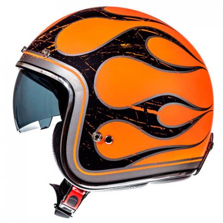 Casca open face motociclete MT Le Mans SV Flaming negru/portocaliu lucios (ochelari soare integrati) [0]