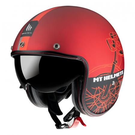 Casca open face MT Le Mans 2 SV Cafe Racer B5 rosu mat (ochelari soare integrati) [1]