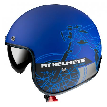 Casca open face MT Le Mans 2 SV Cafe Racer B7 albastru mat (ochelari soare integrati) [0]