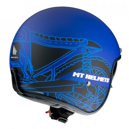 Casca open face MT Le Mans 2 SV Cafe Racer B7 albastru mat (ochelari soare integrati) [2]