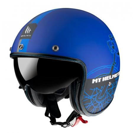 Casca open face MT Le Mans 2 SV Cafe Racer B7 albastru mat (ochelari soare integrati) [1]