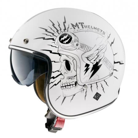 Casca open face MT Le Mans 2 SV Diler B0 alb lucios (ochelari soare integrati) [0]