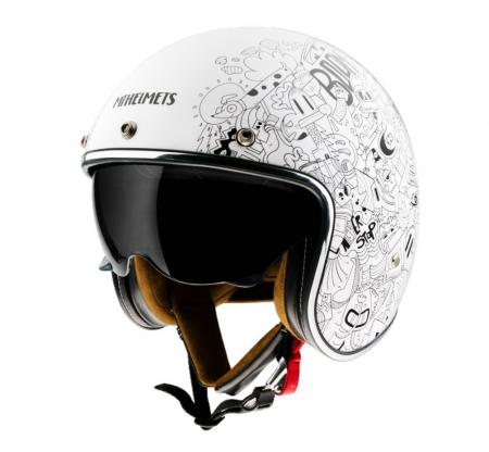 Casca open face MT Le Mans 2 SV Extreme A0 alb lucios (ochelari soare integrati) [1]