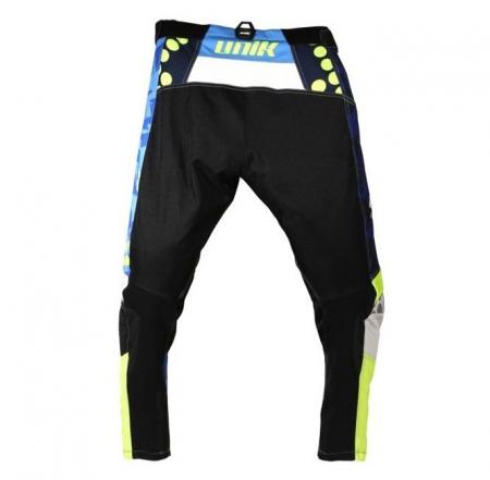 Pantaloni motociclete cross-enduro Unik Racing model MX01 culoare: albastru/verde fluor [2]