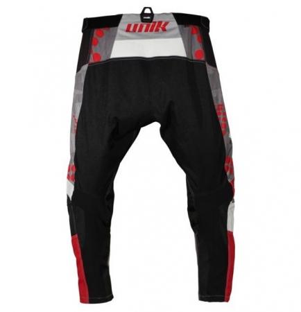 Pantaloni motociclete cross-enduro Unik Racing model MX01 culoare: negru/rosu [2]