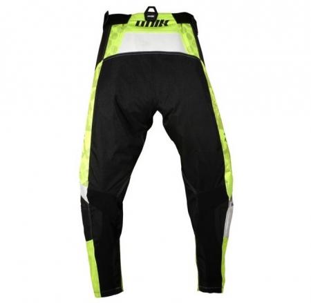 Pantaloni motociclete cross-enduro Unik Racing model MX01 culoare: negru/verde fluor [2]
