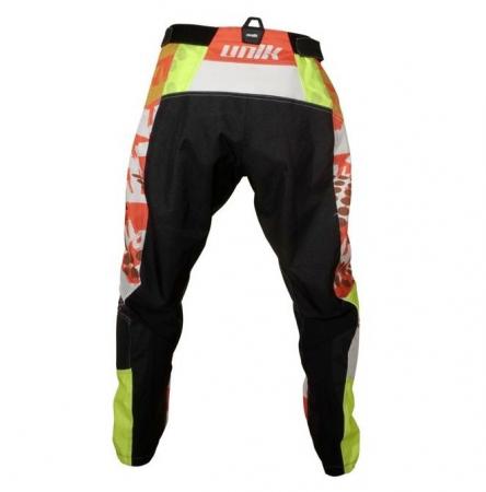 Pantaloni motociclete cross-enduro Unik Racing model MX01 culoare: portocaliu/verde fluor [2]