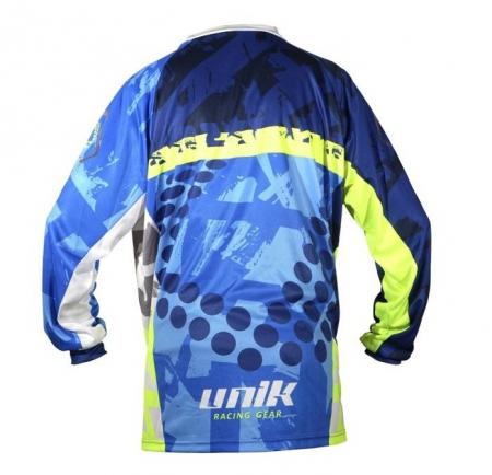 Tricou (bluza) cross-enduro Unik Racing model MX01 culoare: albastru/verde fluor – marime XS [2]