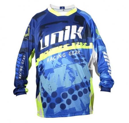 Tricou (bluza) cross-enduro Unik Racing model MX01 culoare: albastru/verde fluor – marime XS [1]