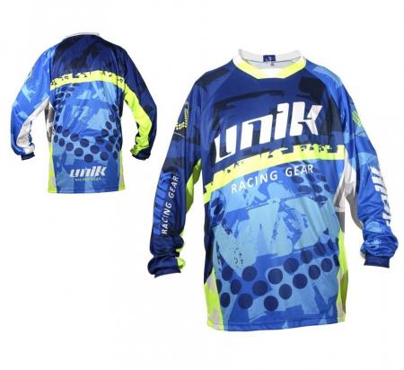 Tricou (bluza) cross-enduro Unik Racing model MX01 culoare: albastru/verde fluor – marime XS [0]