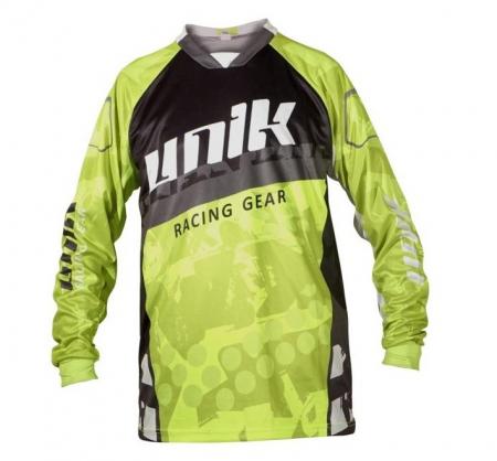 Tricou (bluza) cross-enduro Unik Racing model MX01 culoare: negru/verde fluor – marime XXL [1]