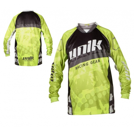 Tricou (bluza) cross-enduro Unik Racing model MX01 culoare: negru/verde fluor – marime XXL [0]