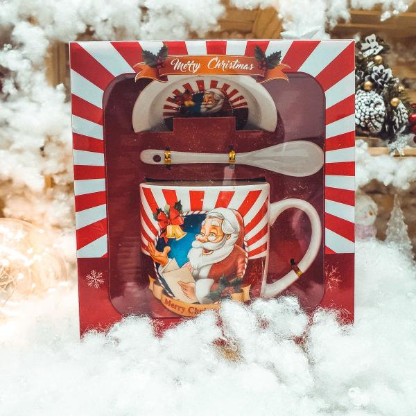 Set cana cu farfurie si lingura realizata din ceramica in cutie – Design Craciun 0