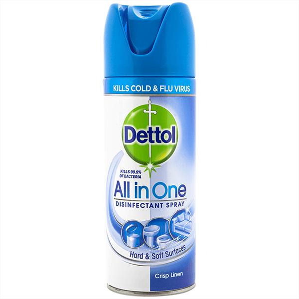 Pachet Spray Dezifectant Suprafete Dettol, 400 ML + Servetele dezinfectante Dettol 40 buc Mar Verde + 5 x Set Mască pentru față reutilizabilă 1