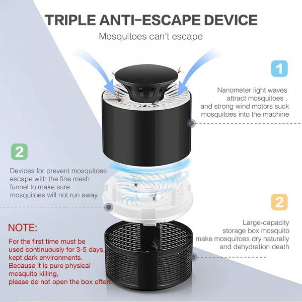 Lampa Mosquito Killer cu Led - Anti-Tantari Electric USB, acoperire 40 mp2 2