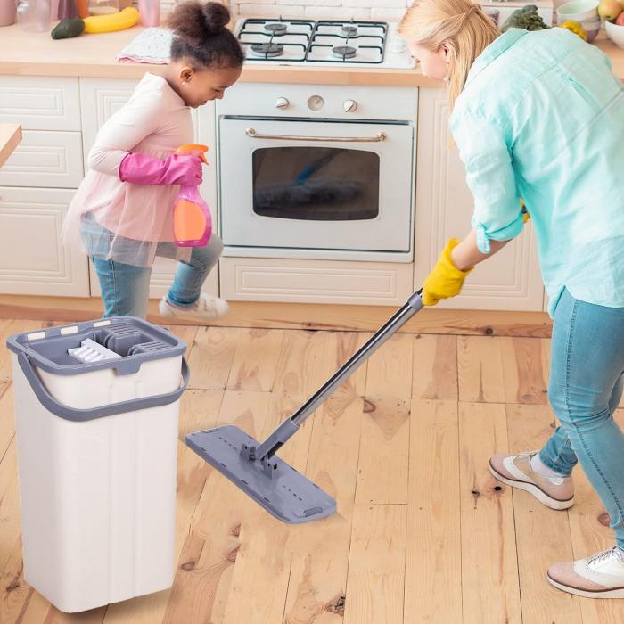 Mop de pardoseală pliabil pentru curățarea locuinței, Mop cu cap rotit la 180° cu tijă din oțel inoxidabil [4]
