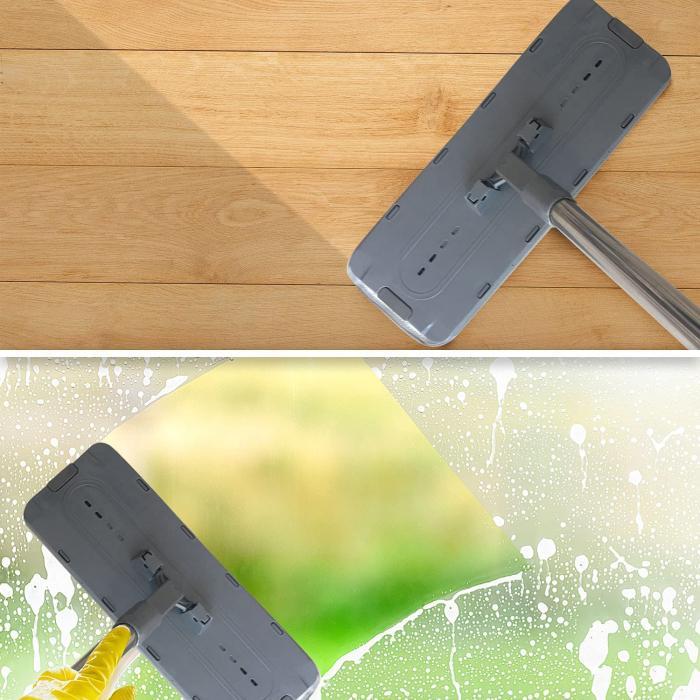 Mop de pardoseală pliabil pentru curățarea locuinței, Mop cu cap rotit la 180° cu tijă din oțel inoxidabil [5]