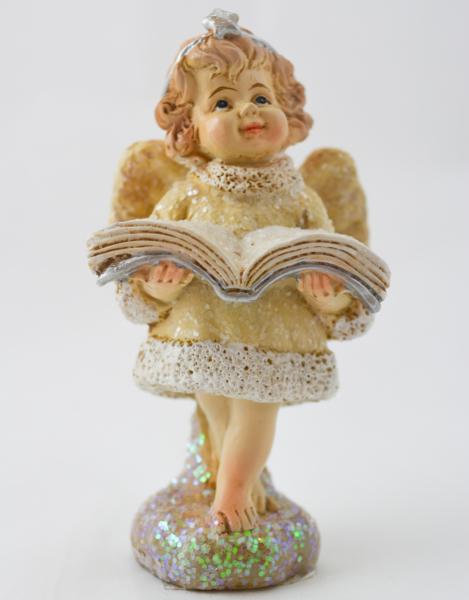 Figurina decorativa din rasina- Ingeras cu carte 0