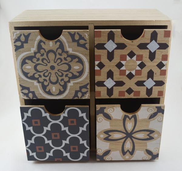 Organizator pentru bijuterii cu 4 sertare din lemn 1