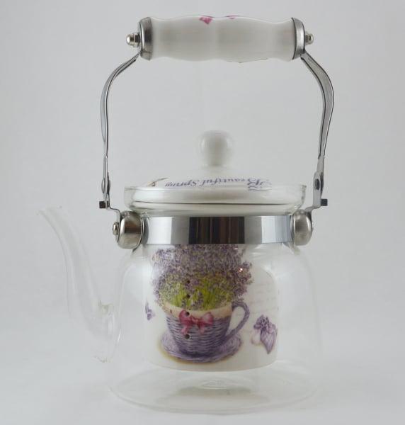 Ceainic realizat din sticla- Design Lavanda 0