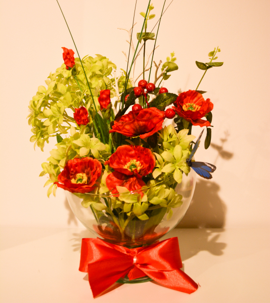 Aranjament floral in pahar de sticla 0