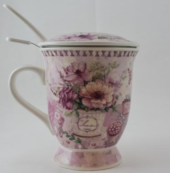 Cana cu infuzor realizata din ceramica pictata – Design Flori 0