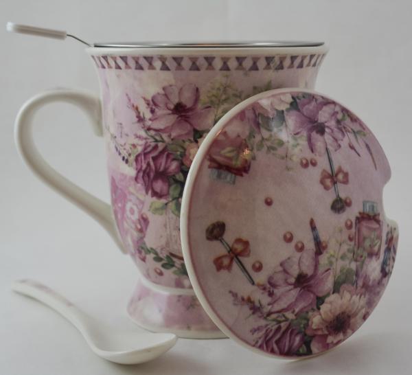 Cana cu infuzor realizata din ceramica pictata – Design Flori 1