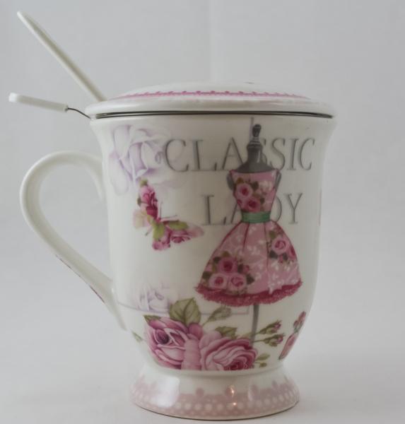 Cana pentru ceai cu strecurator si lingura realizata din ceramica – Design Lady Fashion 0