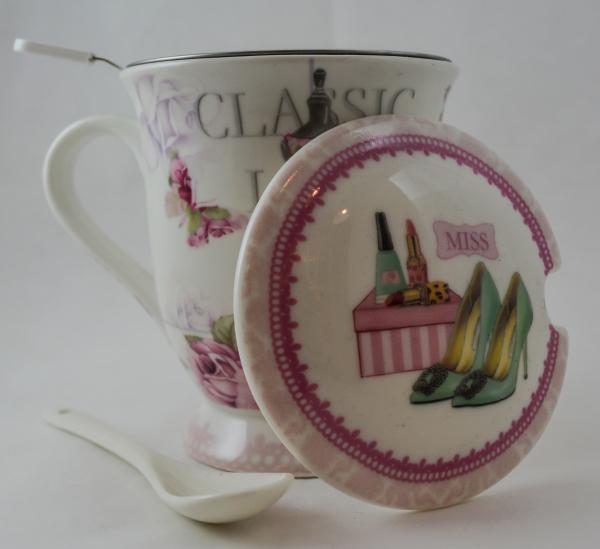 Cana pentru ceai cu strecurator si lingura realizata din ceramica – Design Lady Fashion 1