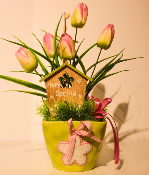 Aranjament floral ghiveci cu decor primavara 34CM 0