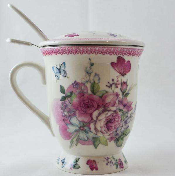 Cana cu infuzor realizata din ceramica pictata – Design Flori de primavara – Roz 0
