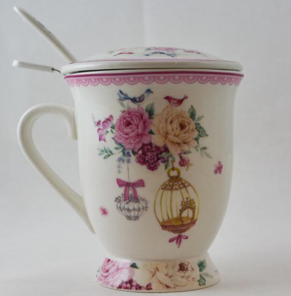 Cana cu infuzor realizata din ceramica pictata – Design Trandafiri si pasari 0